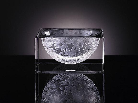 Kristallschale mit Laserdesign